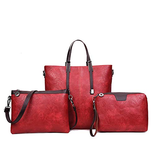 Borsa Grande A Borse Red borse Tracollaborsa Capacità Diagonale Donna In borse Tracolla Da Tre Tracolla Pezzi Pu Donna Casual aBOfnFqww
