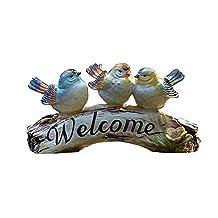 Decoración de Jardines Pájaros Bienvenidos Estatua Logotipo Resina Escultura Decoración Decorar Su Balcón Puerta Principal Patio Jardín Adecuado para jardín de jardín