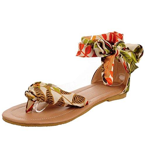 TAOFFEN Mujer Moda Bohemia Sandalias Clip Toe Plano Zapatos De Bowknot Amarillo