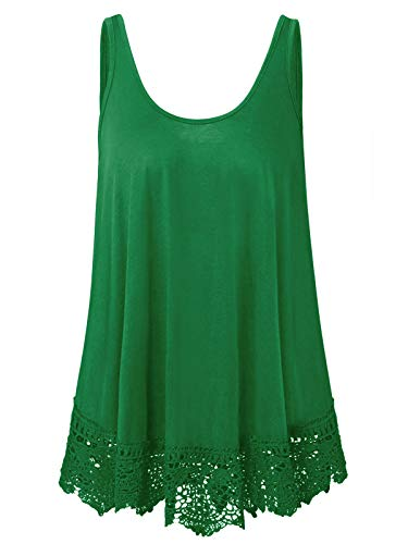 Plus Size Swing Lace Flowy St. Patrick's Day Tank Top for Women (3X, Green)
