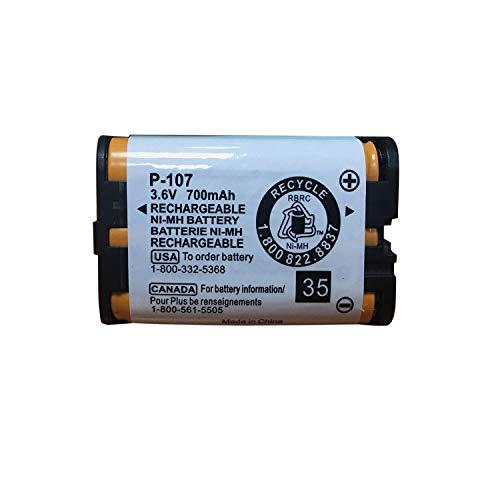 Geilienergy 3.6v 700mAh Rechargeable Battery Compatible with Panasonic HHR-P107 HHRP107 HHR-P107A HHRP107A KX-TG6071 KX-TG6074 KX-TGA351 KX-TGA600 Handset TelephoneCordless Phone (Single) 700 Mah Compatible Battery