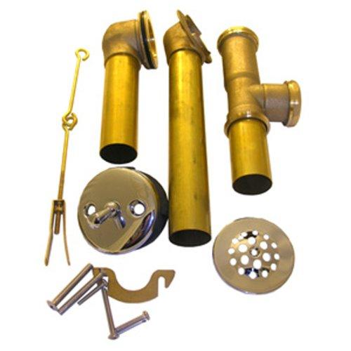 LASCO 03-4922 20-Gauge Brass Tubular Bathtub Trip Lever Waste and Overflow Drain, 1 1/2-Inch, Chrome Plated (Plated Chrome Tubular)