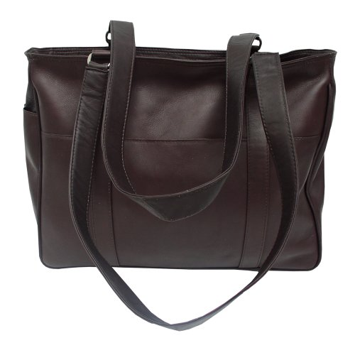 Piel Leather Small Shopping Bag, Chocolate, One Size