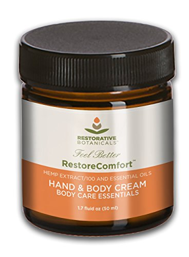Restore Comfort 100 mg Hemp Oil Extract Warming Hand & Body Hemp Extract Essential Oil Relief Cream 50ml Restorative Botanicals