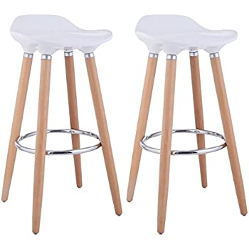 WOHOMO Stylish Modern Bar Stools Counter Height Barstools For Home Bar  Kitchen, White Color Set