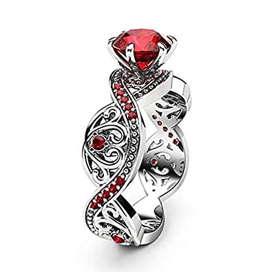 V-MONI New European and American Luxury Ladies White Gold Ring red Corundum Zircon Micro-Inlaid Ring Jewelry Wholesale 9