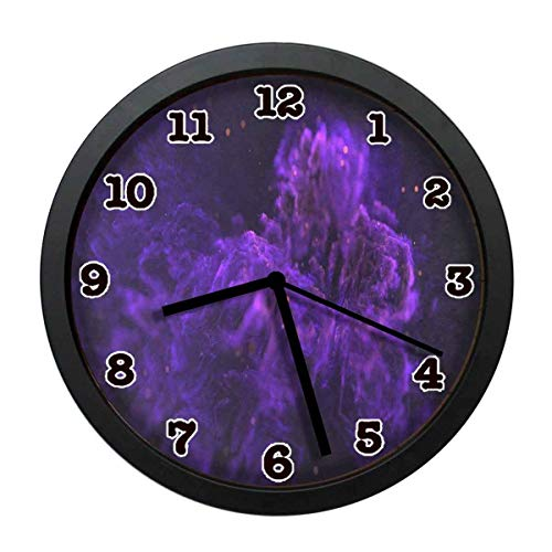 jiushiyigezi-n Purple Charcoal Flame Individuality Modern Wall Clock, Silent Non-Ticking Quartz Wall Clock for Living Room School Office 10in with - Clock Flame Modern