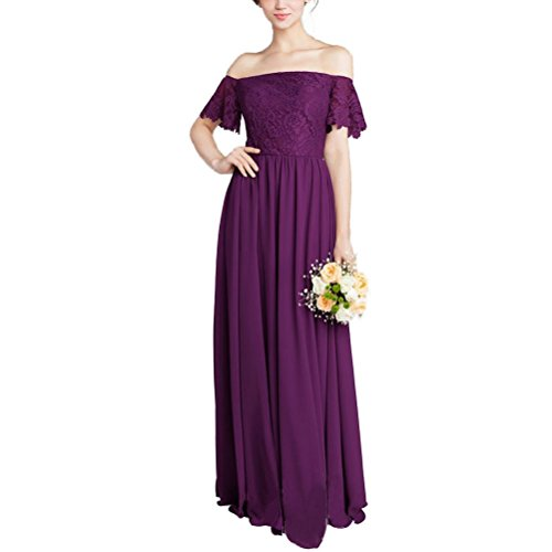 2cef20a7e4fe Zafee-Freely Women's Long Chiffon Lace Off-Shoulder A-Line Wedding  Bridesmaid Prom Gown Maix Dresses Violet US16
