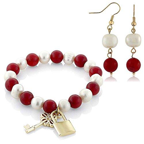 (Gem Stone King 8mm Red Coral Bead & Cultured Freshwater Pearl Lock & Key Bracelet Earrings Set )