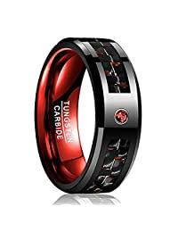 Vakki 8mm Mens Black Red Carbon Fiber Tungsten Carbide Ring Red Cubic Zircon Size 7-12