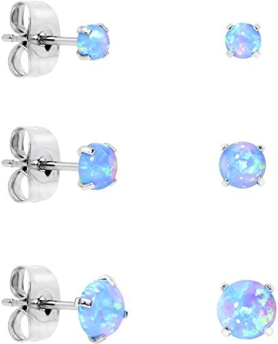 Body Candy Stainless Steel Synthetic Opal Post Stud Earring Pack of three