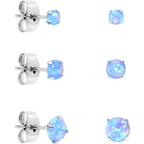 (Body Candy Stainless Steel Synthetic Opal Post Stud Earring Pack of 3 (Blue))