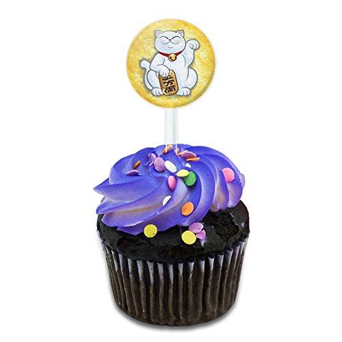 Lucky-Beckoning-Cat-Maneki-Neko-Fortune-Japanese-Kawaii-Cake-Cupcake-Toppers-Picks-Set