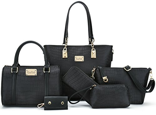 Women Shoulder Handbag for Work Purse 6 Piece Set Bag (Black-3) by KasPala