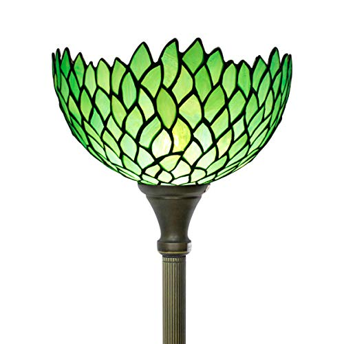 (Tiffany Style Torchiere Lamp Stained Glass Floor Standing Light W12H66 Inch Green Wisteria Lampshade for Living Room Bedroom Bookcase Coffee Table Antique Set S523)