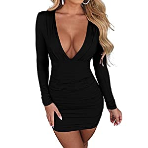 LAGSHIAN Women's Sexy Bodycon Long Sleeve V Neck Ruched Mini Club Dress