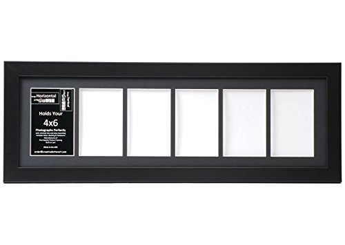 CreativeLetterArt [8x26bk-b] 6 Opening Black Picture Frame Holds 4x6 Media with Black Collage Mat and Glass Face