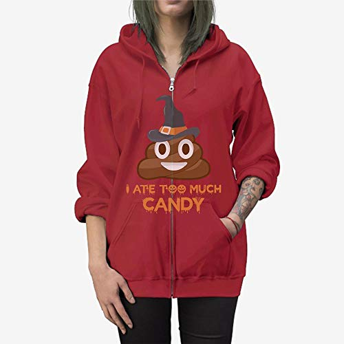 Doryti I Ate Too Much Candy Halloween Witch Zip Hooded Sweatshirt Cardinal Red]()