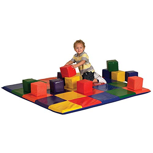 ECR4Kids Softzone Patchwork Toddler Play Mat with 12 Soft Blocks, Primary