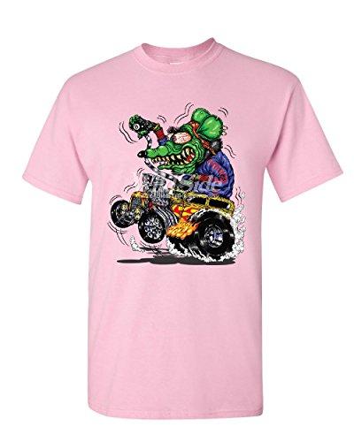 8 Ball Yellow Hot Rod T-Shirt Crazy Green Monster Rat Muscle Car Mens Tee Shirt Light Pink - Green Muscle Car Light