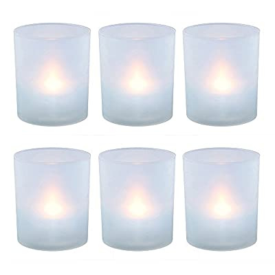 Lumabase 6 Count Flameless Votive Candles in Frosted Holders, Warm White