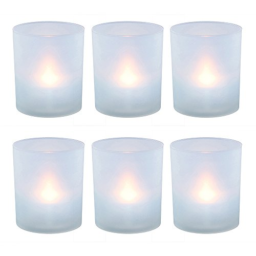 (Lumabase 6 Count Flameless Votive Candles in Frosted Holders, Warm White)
