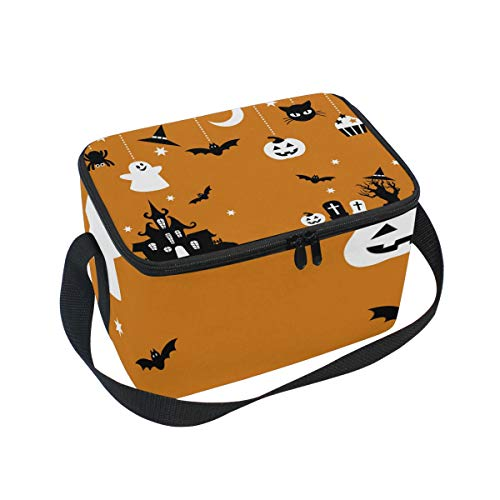 (Tarity Halloween Castle Bats Pumpkin Cat Insulated Lunch Bag Cooler Lunchbox Container Tote Bag with Shoulder Strap for Women Men Boy Girls Kids)
