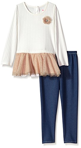 Nannette Insufficient Girls' 2 Piece Dressy Top and Legging Set, Brown, 5