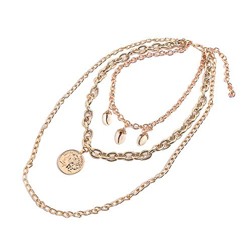 soAR9opeoF Bohemia Multi-layer Seashell Medallion Coin,Women Multi-layer Seashell Medallion Coin Pendant Chain Necklace Gift Golden ()