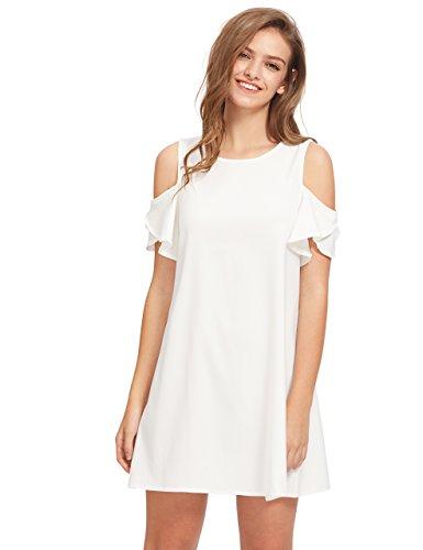 Summer Women's Sleeves Cold Dress Shift Ruffle Milumia White Shoulder aBqnqT