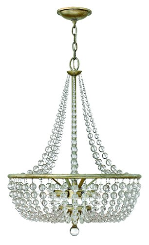 Fredrick Ramond FR43754SLF Four Light Silver Leaf Bead Strands Glass Foyer Hall Pendant