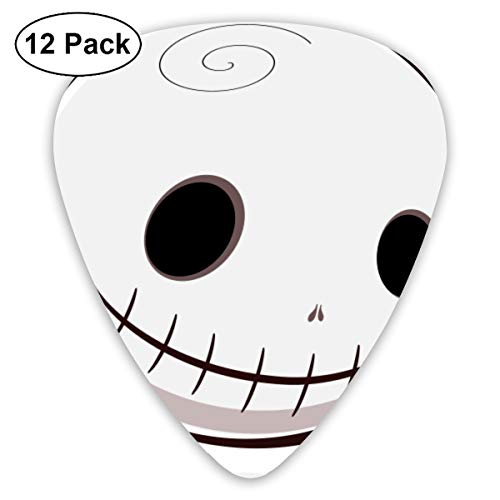 Halloween Skull Smiley Bendy Ultra Thin 0.46 Med 0.73 Thick 0.96mm 4 Pieces Each Base Prime Plastic Jazz Mandolin Bass Ukelele Guitar Pick Plectrum Display -