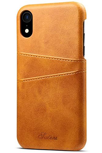 iPhone XR Wallet Phone Case, XRPow Slim PU Leather Back Protective Case Cover With Credit Card Holder for Apple iPhone XR 6.1inch Light Brown (Best Leather Iphone Wallet)