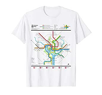 06896b56a5f4 Amazon.com: Washington DC Metro Map Silver Line T-Shirt: Clothing