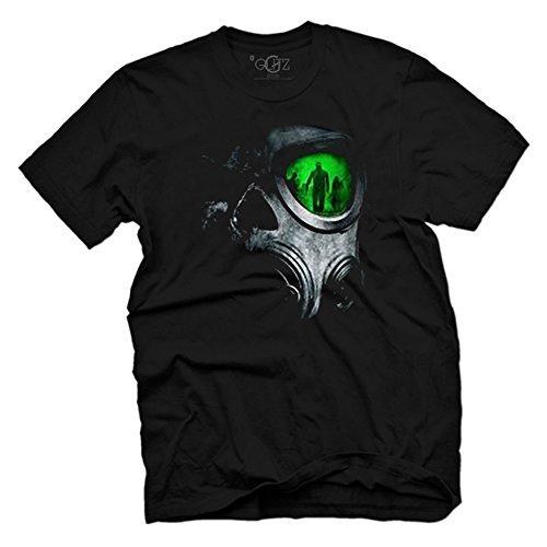 Glit-Z Men's Steampunk Skeleton Scary Skull Gas Mask Steampunk T Shirt L Black