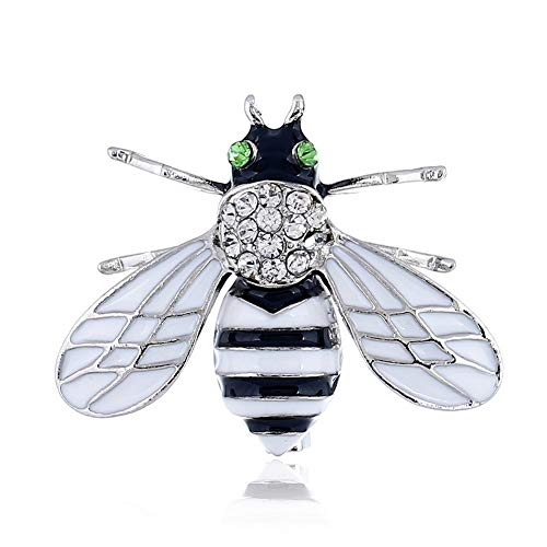 Diamond Bee Pin - SKZKK Colorful Diamond Bee Brooch Alloy Insect Womens Jewelry Painted Enamel Lapel Pin Crystal Clip Multicolor,Silver