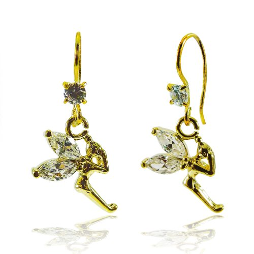 Bijoux De Ja Gold Plated Cubic Zerconia Fairy Wing Angle Drop Dangling Earrings - Homemade Fairy Tale Costumes For Men