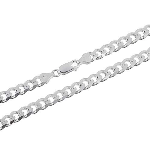 KEZEF Creations Italian 6.5mm Sterling Silver Cuban Curb Link Chain Necklace 28 inch