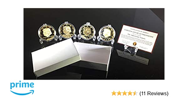 Donald Trump 4 Gold Coin Set, 1st Term Presidential Collector's Edition,  Gold Plated Replica Coins 2017-2018 - 2019-2020, Clear Display Stands,  Cert