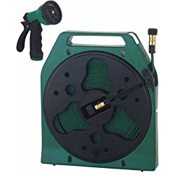 Mintcraft YP1121 Fifty (50) Foot Flat Hose Reel with Nozzle and Male Adaptor