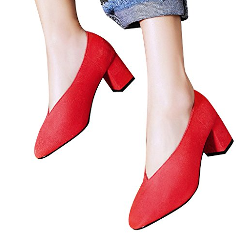 Chère Temps V-cou Talons Chunky Bout Pointu Chaussures Pour Femmes Rouge
