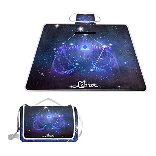 Printedin3D Constellation Zodiac Sign Libra Beach Blanket Picnic Mat 57x59in for Outdoor Hiking Grass Travel