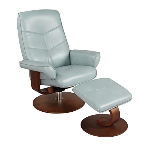 Blue Ridge Leather (New Ridge Home swivel recliner chair & ottoman in pastel blue, Verona)