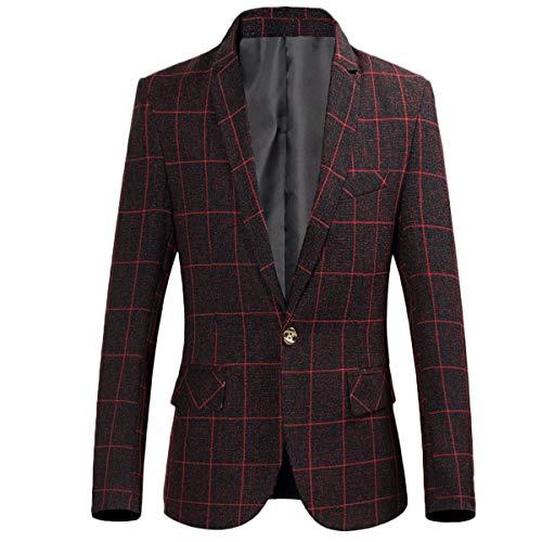 Men's One Button Plaid Blazer Slim Fit Suit Jacket Autumn Sports Coat Burgundy ()
