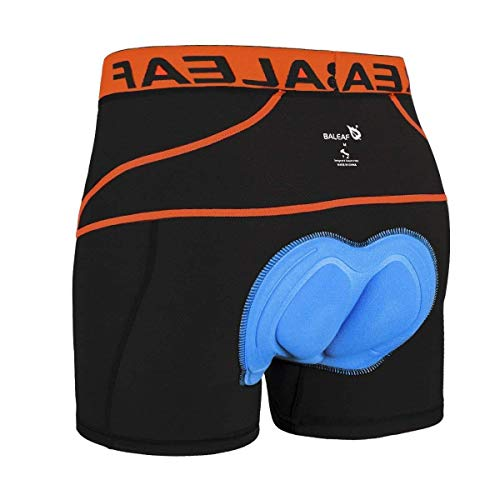 Baleaf Men's 3D Padded Bike Bicycle MTB Cycling Underwear Shorts (Orange, L)