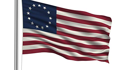 Nylon Printed Outdoor Betsy Ross 13 Stars in Circle Pattern, 13 Stripes, Historical Patriotic First Flag, Made in USA (3x5' Printed ()