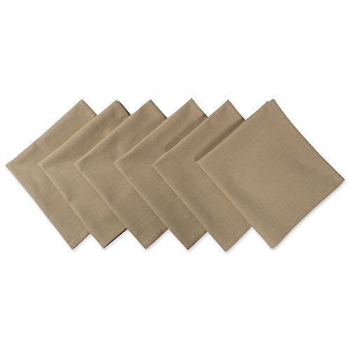 DII 100% Cotton Cloth Napkins, Oversized 20x20 Dinner Napkins, For Basic Everyday Use, Banquets, Weddings, Events, or Family Gatherings - Set of 6, Taupe