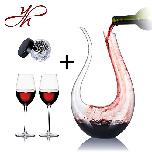 YouYah Swan Wine Decanter Set with 2 Glasses and Cleaning Beads,1750ml Hand Made Crystal,Wine Carafe,Wine Aerator,Wine Gift - Merlot Glass Bead