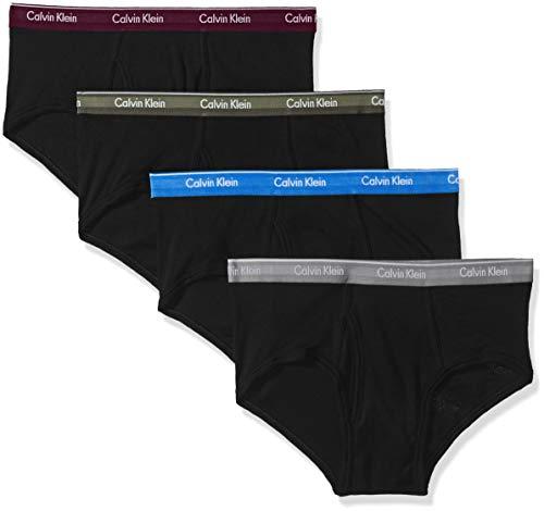 Calvin Klein Men's Cotton Classics Multipack Briefs, Black/Dover Blue/Monument/Bright Plum/Beetle, L