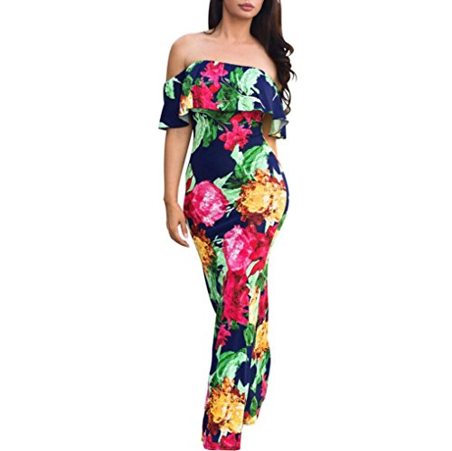 Caopixx Boho Dress, Off Shoulder Ruffles Bodycon Maxi Dress Floral Print Evening Party Dresses Summer Beach Sundress (Asia Size XL, Multicolor) (Embroidered Floral Sundress)